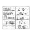 Hand drawn shelves Furniture sketch vector image