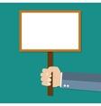 Cartoon businessman hand holding empty sign plate vector image