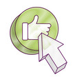 arrow with like hand button icon vector image
