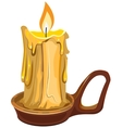 Burning wax candle in a stand vector image