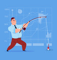 Business man holding fishing tackle search success vector image