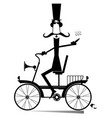 cartoon man rides a vintage bike isolated vector image