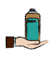 hand holding bottle care pet hygiene vector image