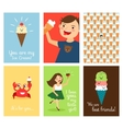 Happy kids with ice cream vector image