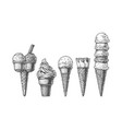 ice cream cones collection vector image