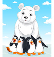 Polar bear and penguins vector image