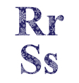 Uppercase and lowercase letters R and S vector image