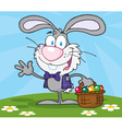 Waving Gray Bunny With Easter Eggs vector image