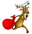 Reindeer running with red bag vector image
