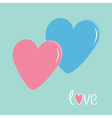 Pink and blue hearts Love card vector image