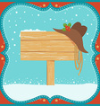 Cowboy Christmas card with western hat and wood vector image vector image