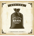 Vintage Western Money Bag vector image vector image