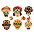 dead day mexico skulls set vector image