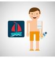 man shorts towel beach vacations boat vector image