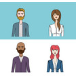 set people face with hairstyle and expression vector image