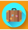 vintage Travel Suitcase icon with long vector image