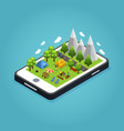 isometric colorful camping mobile concept vector image