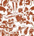 seamless background mushrooms vector image