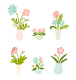 Isolated set of flowers in vases vector image vector image