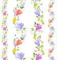 Cute collection of seamless borders with spring vector image vector image