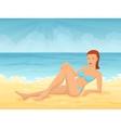 Young girl lying on beach vector image