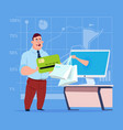 business man use computer online shopping bag vector image