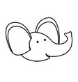 elephant cartoon head in monochrome silhouette vector image