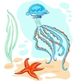 Endless underwater world with vector image