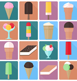 Icons of ice cream in a flat style vector image