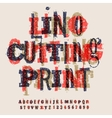 Linocut letters and numbers artistic alphabet vector image