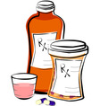 Liquid medicine and pills vector image
