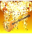 musical notes in a cloud of stars and guitar vector image