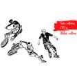 set of bike rider jumping and roller skater vector image