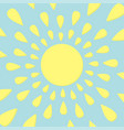 sun icon yellow rays of light cute cartoon vector image