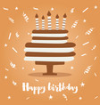 birthday cake with candles and confetti vector image vector image