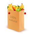100 percent natural on a paper bag full of fresh vector image vector image