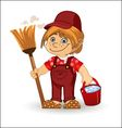 Cleaning boy vector image