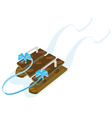 Wooden sled vector image