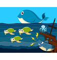 Shark attack ship under the sea vector image vector image