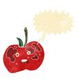 cartoon apple with speech bubble vector image