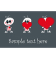 Baby who gives red three loves hearts vector image vector image