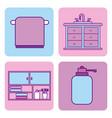 bathroom set of icons equipment elements concept vector image