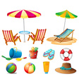 Beach objects and toys vector image