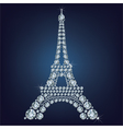 Eiffel tower - Paris made up a lot of diamonds vector image