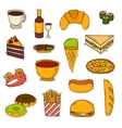 Fast food handmade icons vector image