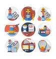 hookah color detailed icons set vector image