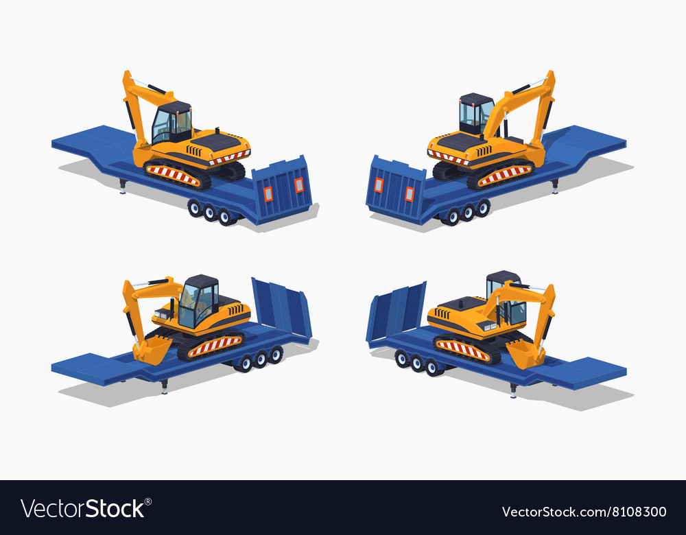 Low poly yellow excavator on the blue lowbed vector