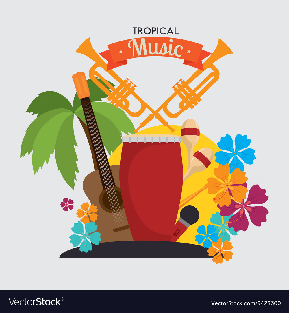 Tropical music instruments isolated icon design vector