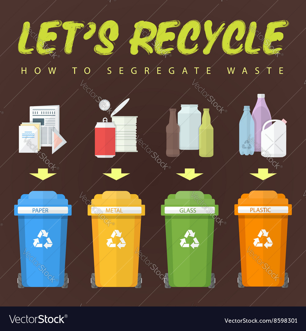 Lets recycle waste concept vector