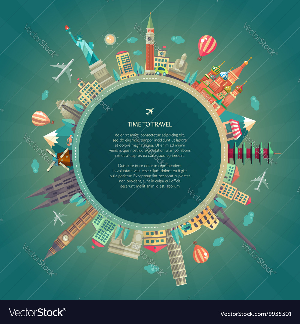 Travel around the world flat design vector